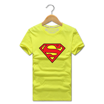 Superman Short sleeve summer men's short sleeved t-shirt (Bright yellow)