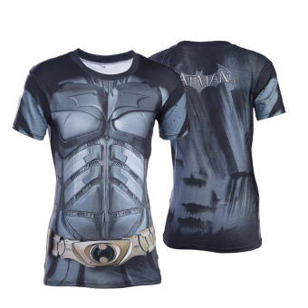 Superman Spider Man men T-shirt slim fit clothing (Black bat short sleeved)
