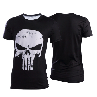 Superman Spider Man men T-shirt slim fit clothing (Black Skull short sleeved)
