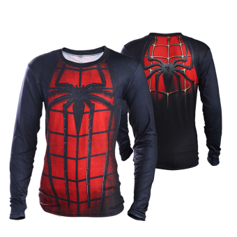 Superman Spider Man men T-shirt slim fit clothing (Hong spider long-sleeved)