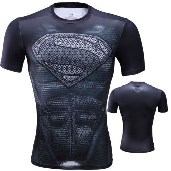 Superman ultra-stretch quick-drying short sleeved men T-shirt slim fit clothing (Muscle Superman)