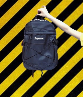 Supreme Backpack Ulzzang Bag European and American Tide Card DeadFly Retro Street Skateboard Backpack(Black) - intl