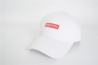 Supreme Embroidery Solid Color Baseball Cap Hats For Men Women Casual Hip Hop Caps(White) - intl
