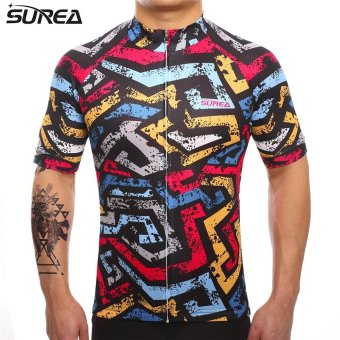 SUREA 2017 New Fabric Summer Men Quick Dry Cycling Jersey MtbBreathable Bicycle Clothing Short Sleeve Cool Bike Wear ClothesDS-13 - intl