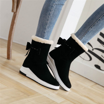 Sweet winter bow Short Tube short boots (Black)