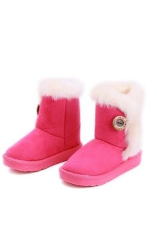 SWorld Winter Children Snow Boots Thick Warm Shoes Kids Shoes Rosered (Intl)