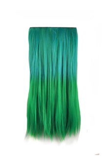 Synthetic Fiber Straight Hair Extension (Blue/Green)