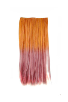 Synthetic Fiber Straight Hair Extension (Pink/Orange)