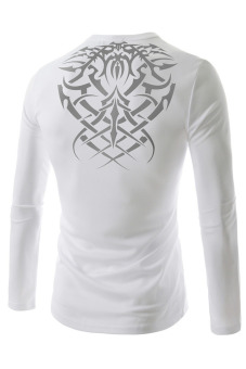 T38 Casual Shirts O-neck Long Sleeves (White) - picture 2