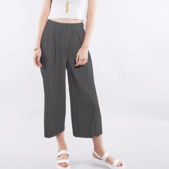 T69 Pleated Design Elasticated Culottes High Waist Pants (DarkGrey)