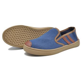 Tanggo Ash High Quality Denim Men's Slip-On Casual Shoes(blue/brown) - 3