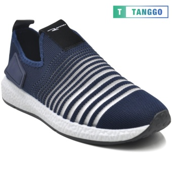 Tanggo F12 Fashion Sneakers Korean Mesh Shoes Light Breathable Slip-On for Men (navy blue)