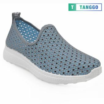 Tanggo Fashion Fly Woven Slip-On Sneakers Shoes for Women 1868(Grey)