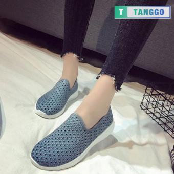 Tanggo Fashion Fly Woven Slip-On Sneakers Shoes for Women 1868(Grey) - 4