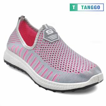 Tanggo Fashion Fly Woven Slip-On Sneakers Shoes for Women 608(Grey/Pink)