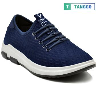 Tanggo Fashion Sneakers Mesh Shoes Light Breathable Slip-On for MenK-10 (navy blue)