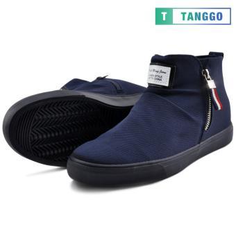 Tanggo High Cut Zip Sneakers Men's Casual Shoes 9263 (Navy Blue) - 2