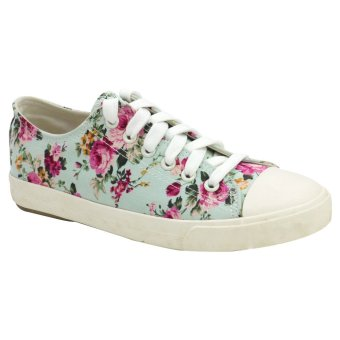 Tanggo Women's Low Cut High Quality Sneakers Floral Casual Shoes225 (Light Blue)