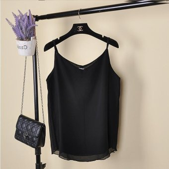 Tank Top Women New Summer Sleeveless Shirt V-neck Cami Loose CasualFemale Tops Vest Ladies Clothing(Black) - intl