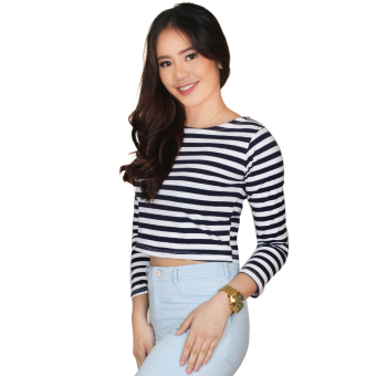 Taylor Crop Top Stripes Long Sleeves (Blue/White)