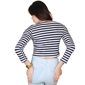 Taylor Crop Top Stripes Long Sleeves (Blue/White) - 2
