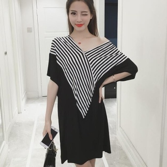 TB Large size loose stripe dress Black - intl