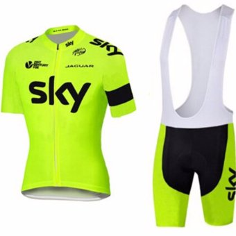team 2017cycling Jerseys bike Berbasikal cycling clothing Set quickdry Jersi men's yellow summer bicycle clothes sportwear - intl