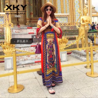 Thailand Bohemian Floral Dresses Maldives vacation Beach Skirt Dresses ethnic boho long dress - intl