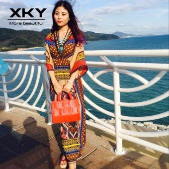 Thailand Bohemian Floral Dresses Maldives vacation Beach Skirt Dresses ethnic boho long dress - intl - 3
