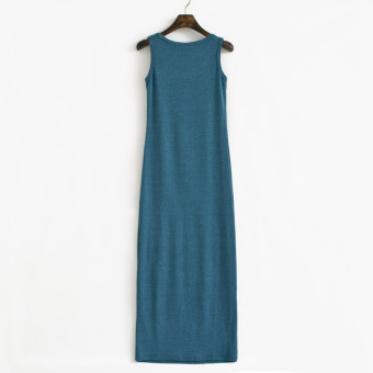 The new cotton long section Slim fit vest dress (Blue and gray)