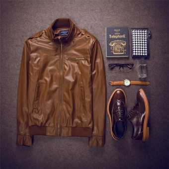The new Japanese style explosion models men 's leather collarcollar leather jacket fashion boutique leather jacket(coffee) -intl