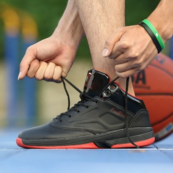 The Red Men's Basketball Shoes Damping Breathable Cement High BootsMen's Athletic Shoes to Help Students Black - intl - 2