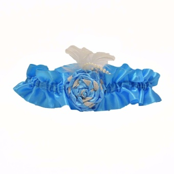 The Wedding Library Wedding Garter MBF Rose & Feathers (Blue) Price Philippines