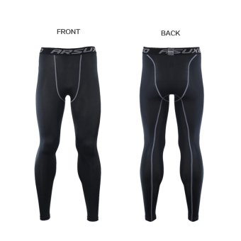 Thermal Warm Up Fleece Compression Cycling Base Layers ShirtsRunning Sets Jersey Sports Suits Clothing Top and Pants (Black) - 4