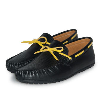 Thin Belt Leather Men's Loafers - Black