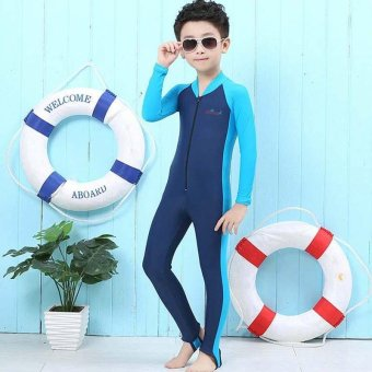 Thin Children Boy Wetsuits Full Body Swimsuit Swimwear FullsuitKids Snorkeling Scuba Diving Wet Suit Spring Summer - navy blue -intl