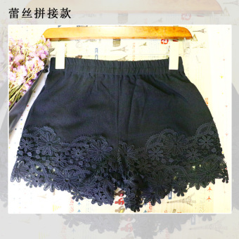Three points lace porous lace shorts (Black (lace stitching models))