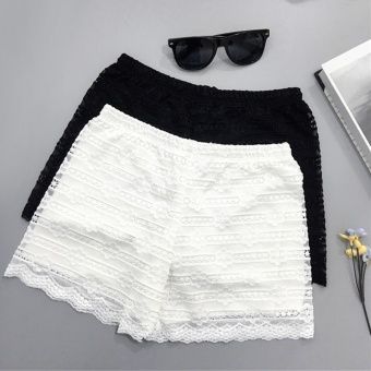 Three points thin lace leggings (White)