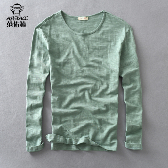 Tianzhu Jianyue cotton solid color men's T-shirt base shirt (805 artistic green)