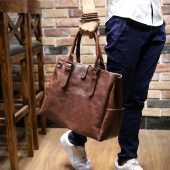 Tidog Crazy horse leather han edition men's bags leisure bag shoulder bag - Intl
