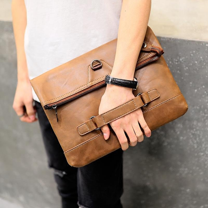 Tidog Retro tide male leather folding hand bag IPAD clutch bag - intl Philippines