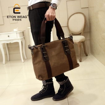 Tidog The new Korean male bag men canvas bag casual bag business laptop Shoulder Bag tote bag - intl