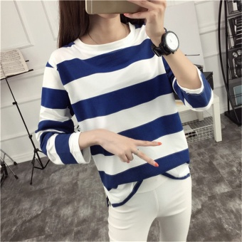 Tingdisha Women's Casual Striped Slit Long Sleeve T-Shirt (Dark blue color)