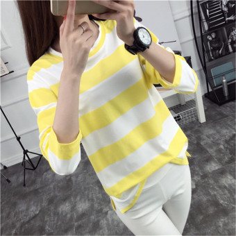 Tingdisha Women's Casual Striped Slit Long Sleeve T-Shirt (Yellow)