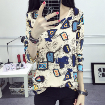 Tingdisha Women's Loose Print Long Sleeve T-Shirt Color Varies (923)