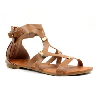 Tokkyo Shoes Women's Hazel D-11 Flat Gladiator Sandals (Brown)