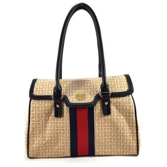 Tommy Hilfiger Coated Canvas Flap Tote Bag (Apricot)
