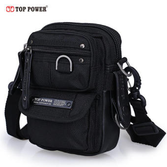 Top power casual multi-with pockets multi-functional mini trendy bag small bag (Black)