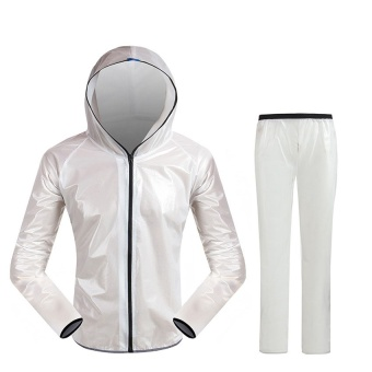 Top Rain Coat Set Outdoor Super Waterproof Jacket Pants Man Running Rain Jacket Oversize(white)