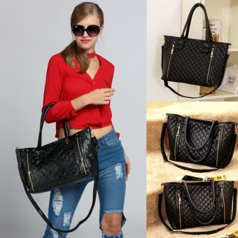 Toprank Black Retro Women Office Lady Quilted Shoulder Tote Bag Handbag Fashion